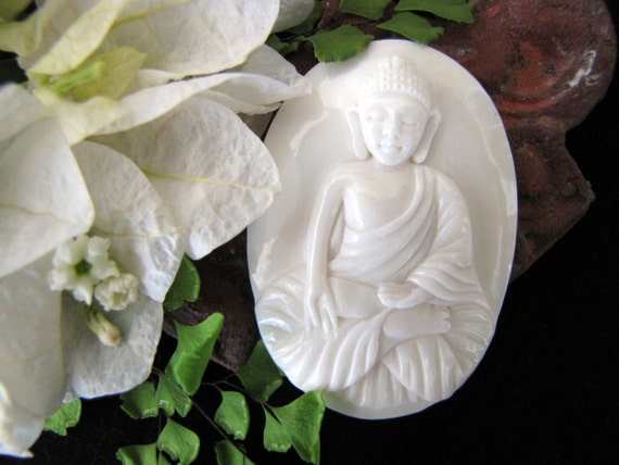 Akash Buddha Carved Bone Cabochon