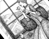 Tea Break - matted illustration print - 4x6