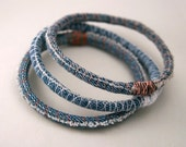 3 three upcycled denim bracelets - repurposed jean bangles - made to order in your size and thread colors - amberhlynn