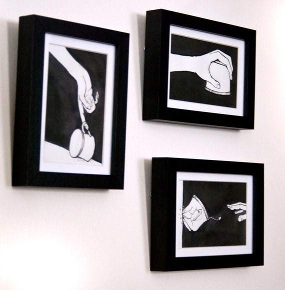 EmpTea - series of three framed original art works - teacups and hands - India ink - black and white illustration - tea - Amber Hawkinson
