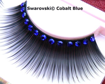 Sparkly Blue False Eyelashes with Swarovski Crystal Diamante Fake Lashes for Festivals