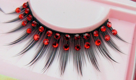 Exclusive False Eyelashes with Genuine Red Preciosa Crystal Diamante Rhinestones