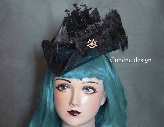 Cunene Black Vessel Tricorn Fascinator Hat