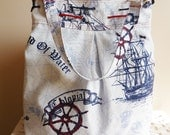 Nautical Bag Ship ,Anchor and Helm on the Map Large Diaper bag / Shoulder Bag / Travel Bag with ropes
