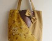 Dark Mustard Yellow ,Old Gold with leather  large tote  bag /Shoulder Bag/Laptop Bag / Diaper Bag / Travel Bag
