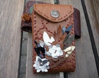 Cinnamon  leather cigarette case ,digital camera case or card case for 100's cigarette