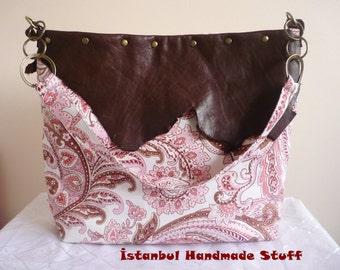 Floral Pink with Dark  Brown Natural Leather Edge  Large  Shoulder Bag