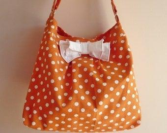 Orange Pleated Bag with  Bow Medium Diaper bag / Shoulder Bag / Cross body bag / Travel Bag with adjustable strap