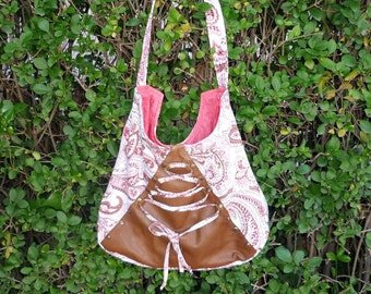 Pink Paisley  Corset Laced with Leather  Shoulder Bag/Single Strap