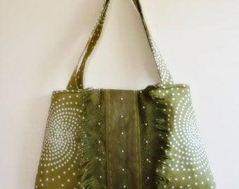 Olive Green Shoulder Bag   with Leather Detail/ Medium  Handbag /Satchel