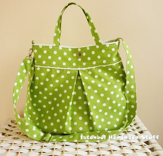 Waterproof Lime Green Polka Dot Medium  Handbag /  Diaper bag / Shoulder Bag / Cross body bag / Travel Bag