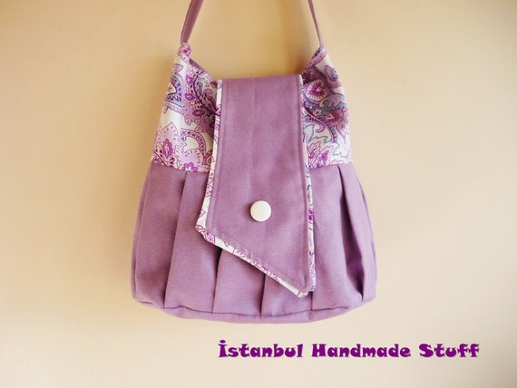 Floral Purple  and Lavender Pleated Medium Shoulder Bag  with buttoned flap