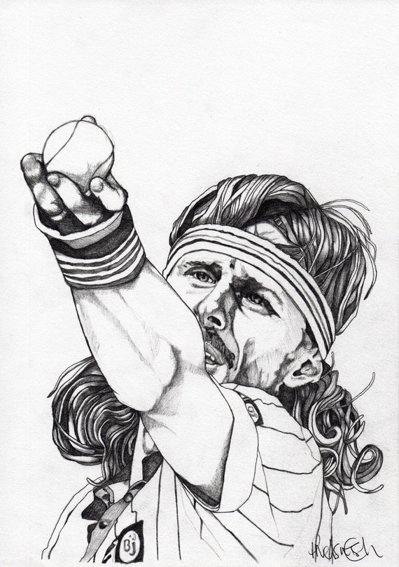 BJORN BORG - ORIGINAL Signed Paul Nelson-Esch - Pencil Drawing Art Illustration