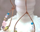 Confetti Copper Drop Earrings - with gemstones and crystals - Free Shipping