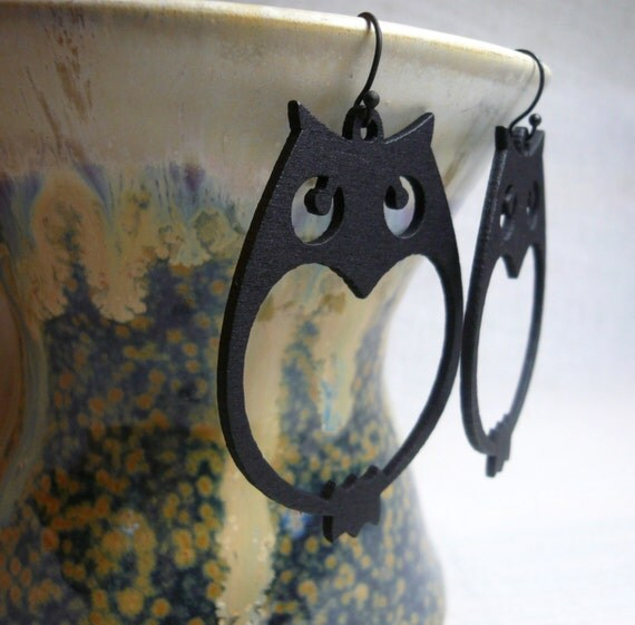 Black Hoot Owl - earrings - FREE Shipping