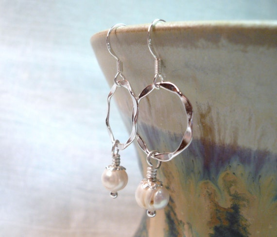 Infinity Pearls - Sterling Silver Earrings - FREE Shipping