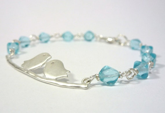 Love Birds Bracelet - Silver and Tiffany Blue on a Branch - FREE Shipping