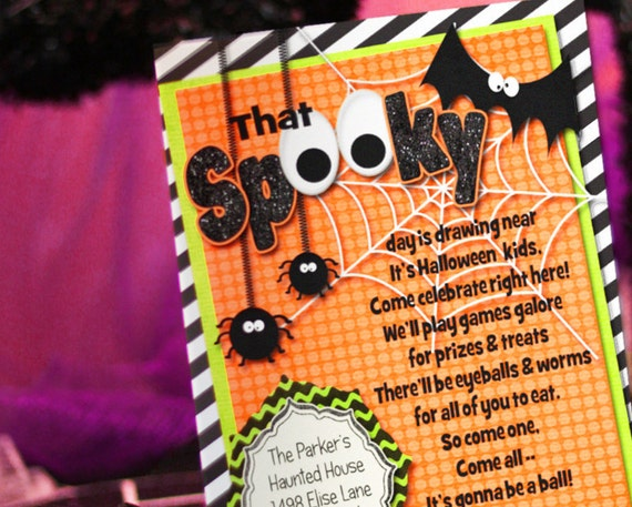 Halloween Invitation - Halloween Party - Halloween Party Invitation - Spider - Printable Files by Amanda's Parties To Go