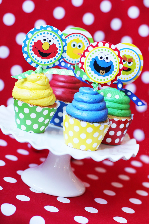 Sesame Street Birthday Party Sesame Street Cupcake Toppers