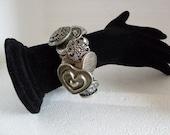 Folkart Silver Button Heart Bracelet Cuff Jewelry