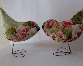 Shabby Chic Pr. of  Rose Garden Love Birds Wedding Cake Toppers Decorations