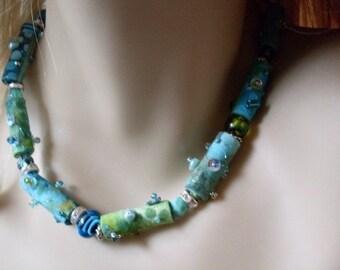 Tye Dyed Beaded  Necklace  Blue & Turquoise Textile Beads