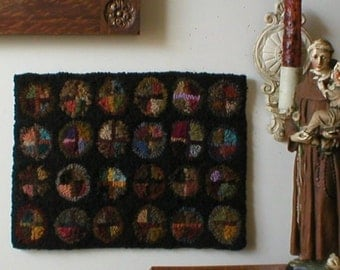 PrimiTive Heavenly Stained Glass Penny Hooked Rug FolKart  Hooked Rugs