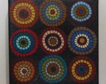 Primitive Folkart Hooked Rug Design Penny Art  Painting Sampler