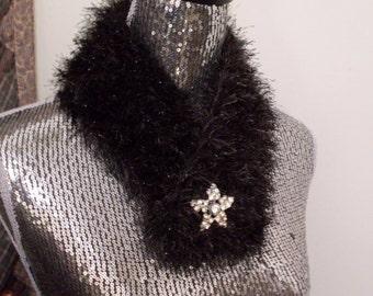 Beautiful Cowl Neck Shimmer Scarf Rhinestone Star