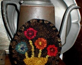 Primitive Folkart Penny Flower Basket Hooked Rug