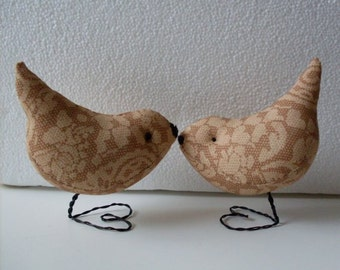 Primitive Folkart Pr of  Lace Love Birds   Wedding Cake Toppers Gifts