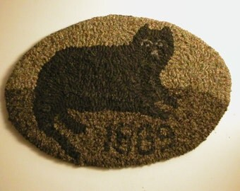 Primitive Folkart 1889 Cat Hooked Rug LJO Collection Primitives