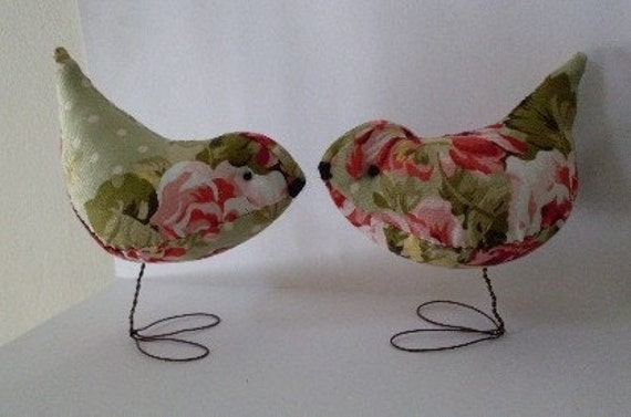 Shabby Chic Pr. of  Rose Garden Love Birds Wedding Cake Toppers Decorations