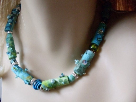 Tye Dyed Beaded  Necklace  Blue & Turquoise Textile Beads