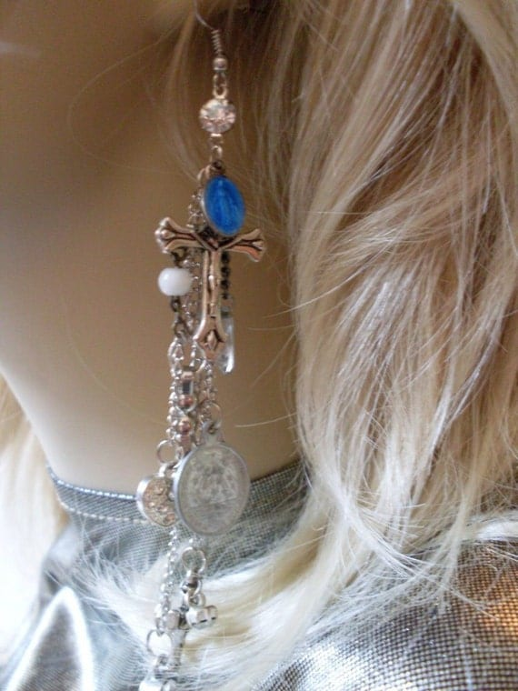 Renaissance Religious Medal Repurposed Vatican Collection Earrings Rue23paris  We Ship Internationally