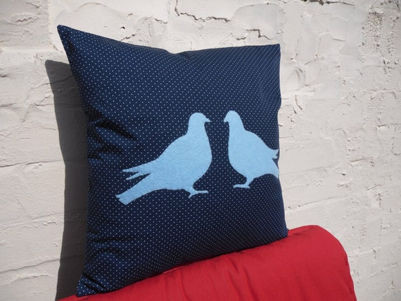 Twiggy Spotty Navy and Blue Pigeon Cushion Cover