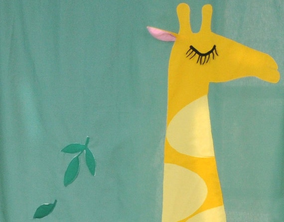 Curtain for Kids - Giraffes, PAIR of textile CURTAINS
