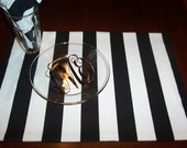 Custom Placemat Set of SIX  in Canopy Black and White Stripe