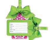 Personalized Luggage Tag HOT PINK & Lime Damask
