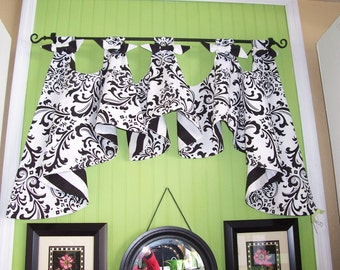 Black and White Damask and Stripe Custom Austrian Tab Valance