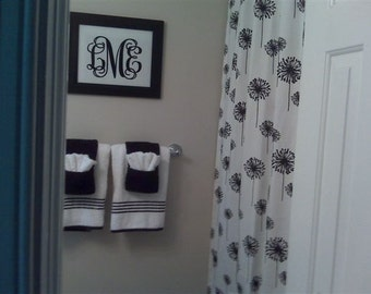 Black & White Dandelion Print Custom Shower Curtain