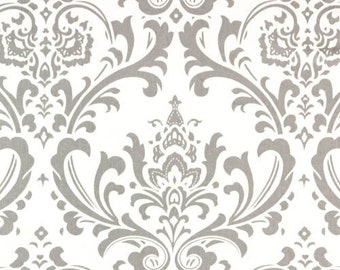 Custom Fully Lined Drapery Panels Set of 2 Traditions Damask STORM Gray