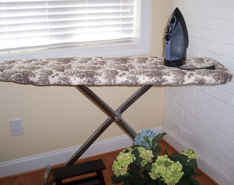 Custom Ironing Board Cover Chocolate Toile Fabric