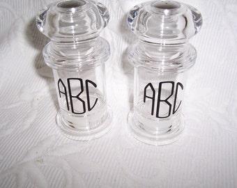 Monogrammed Acrylic Salt & Pepper Shaker Set