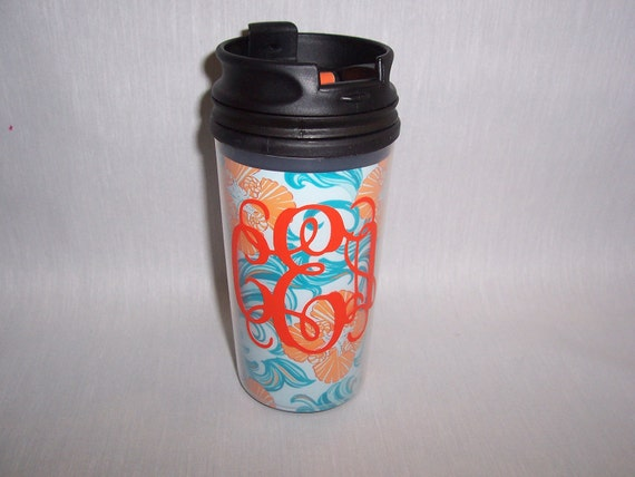 Cute Monogrammed Travel Cup Lilly Pulitzer Do the Wave