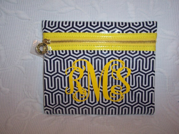 Large Monogrammed Navy Geo Key & Chevron Design Canvas  PVC Cosmetic Case