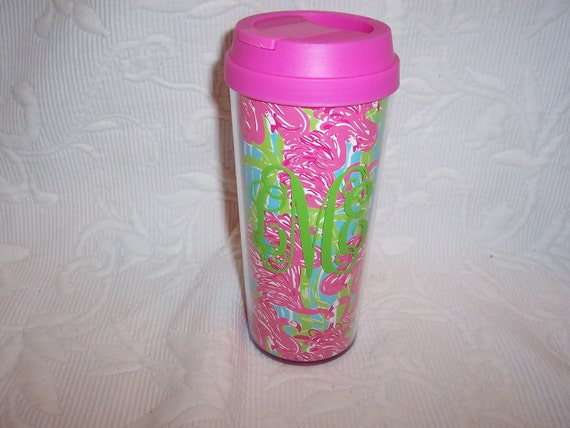 Personalized Lilly Pulitzer FAN DANCE Insulated Thermal Mug