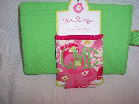 Lilly Pulitzer Monogrammed Koozie Scarlet Begonia Gift Wrapped