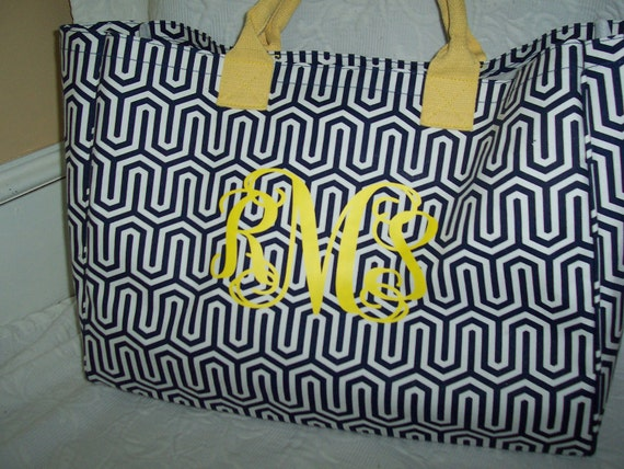 Personalized Mod Navy Geo Canvas Essential Tote GIFT WRAPPED