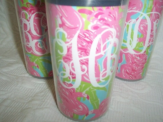Cute Monogrammed Travel Cup with Lilly Pulitzer Fan Dance